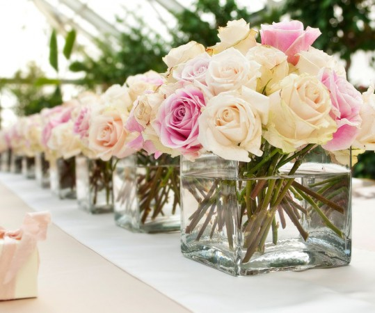 Champagne Ivory Blush Rose Wedding Centerpiece by Visio Photography
